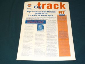 GULF McLAREN F1 GTR 1995 ON TRACK info sheet - #7 Le Mans test/ Donington preview